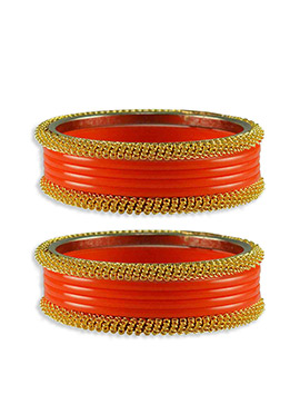 Gold N Orange Colored Stylish Bangles