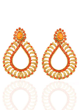 Gold N Orange Dangler Earrings