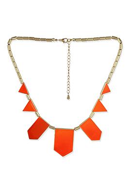 Gold N Orange Geometric Patterned Necklace