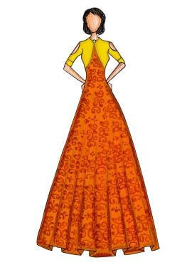 Gold N Orange Makhmali Satin Gown with Yellow Jacket