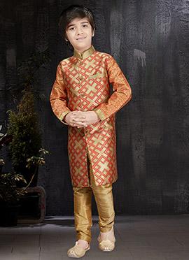 Gold N Peach Art Benarasi Silk Kids Kurta Pyjama