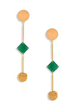 Gold N Peach Crystal Decked Danglers