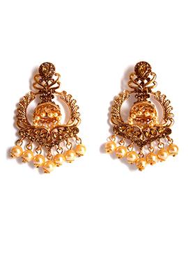 Gold N Peach Dangler Earrings