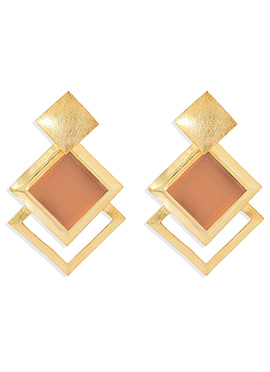 Gold N Peach Dangler Earrings
