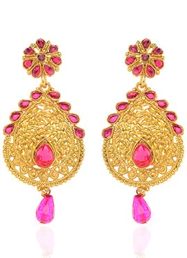 Gold N Pink Dangler Earrings