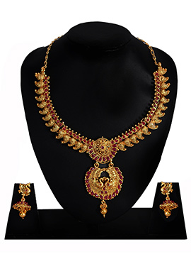 Gold N Pink Necklace Set
