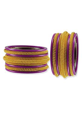 Gold N Purple Elegant Bangles