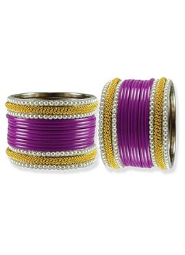 Gold N Purple Moti Studded Stylish Bangles