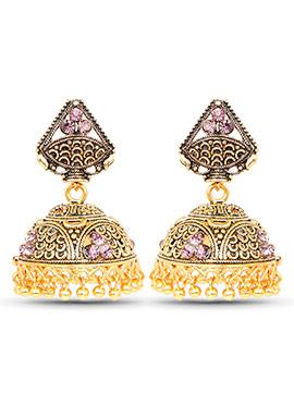 Gold N Purple Stones Jhumka Earrings