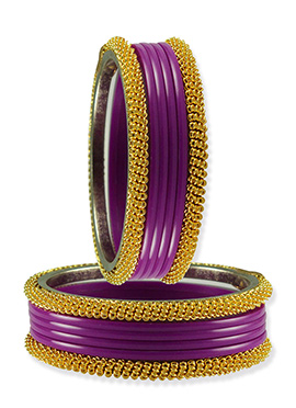 Gold N Purple Stylish Bangles