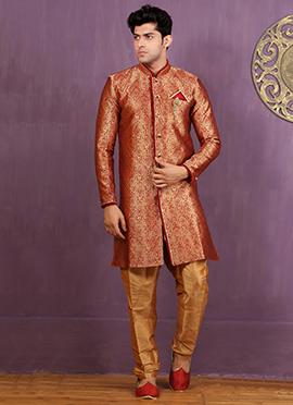 Gold N Red Art Silk Achkan Sherwani