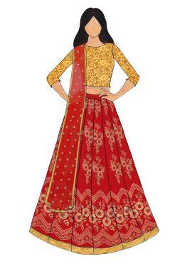 Gold N Red Art Silk Kali Lehenga