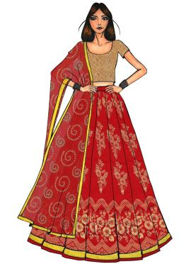 Gold N Red Art Silk Kali Lehenga Set