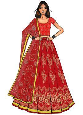 Gold N Red Art Silk Kali Lehenga Set
