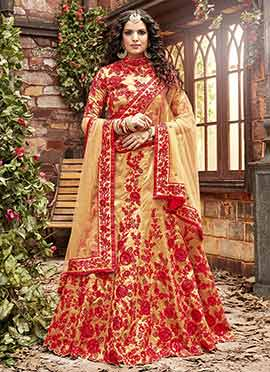 Gold N Red Art Silk Umbrella Lehenga