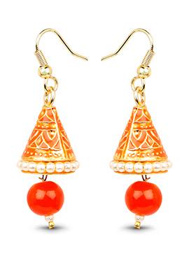 Gold N Red Beads Dangler Earrings