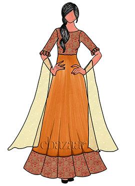 Gold N Red Brocade Anarkali Suit