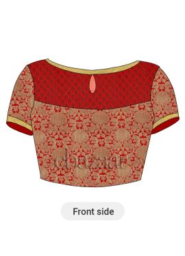 Gold N Red Brocade Blouse