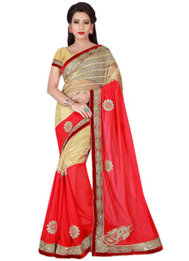 Gold N red chiffon saree