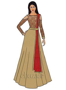 Gold N Red Cold Shoulder Brocade Abaya Set