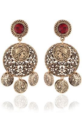 Gold N Red Dangler Earrings
