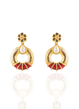 Gold N Red Dangler Earrings