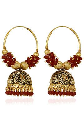 Gold N Red Jhumka Earrings