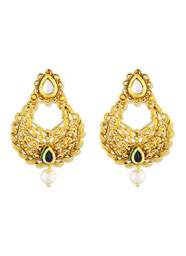 Gold N Red One Stop Fashion Chandbali Earrings