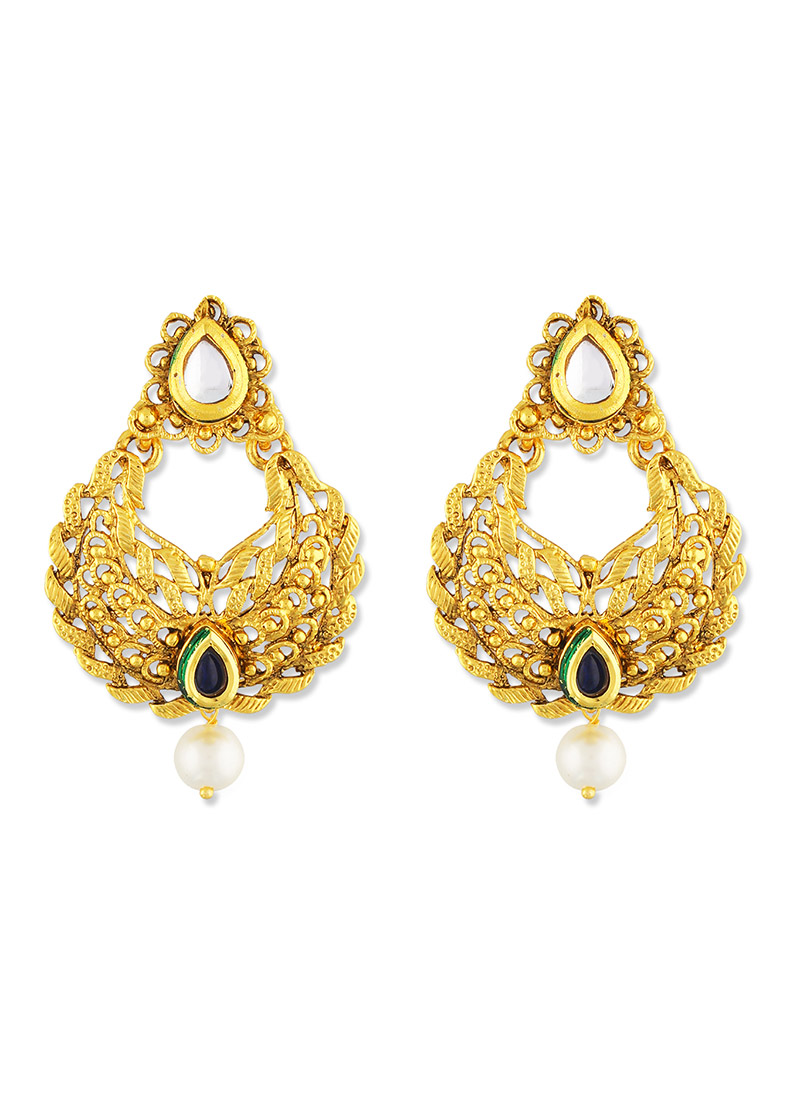 Buy Gold N Red One Stop Fashion Chandbali Earrings Stones