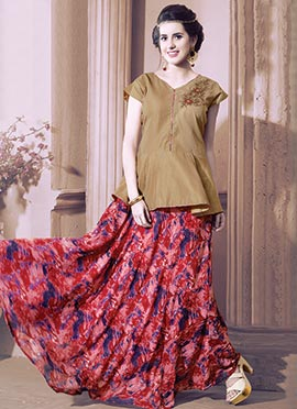 Gold N Red Silk N Georgette Skirt Set