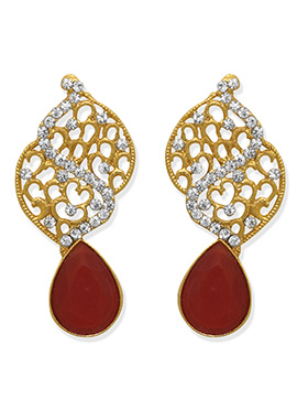 Gold N Red Studs Earring