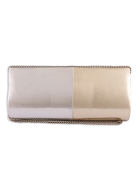 Gold N Silver Colored Faux Leather Clutch