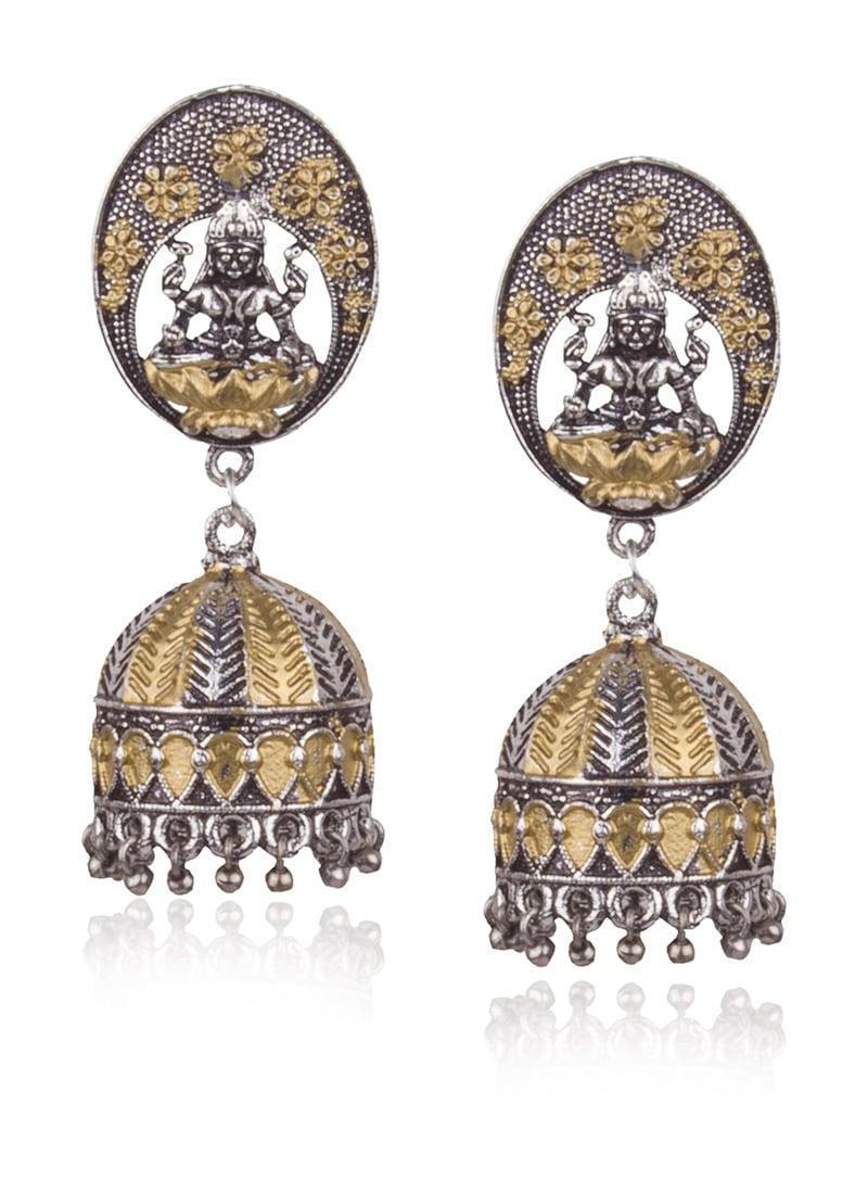 48f97f844c8fa Buy Gold N Silver Jhumka Earrings, Beads, jhumka Online Shopping | ERMPF9457
