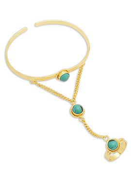 Gold N Turquoise Bracelet