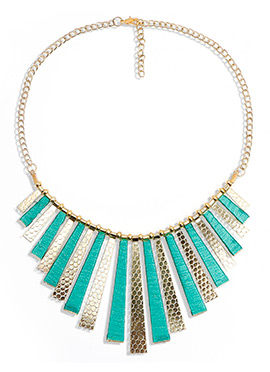Gold N Turquoise Enamel Necklace