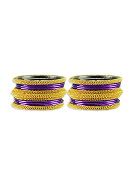 Gold N Violet Colored Elegant Bangles