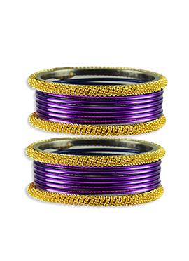 Gold N Violet Colored Stylish Bangles