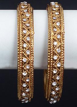Gold N White Bangles
