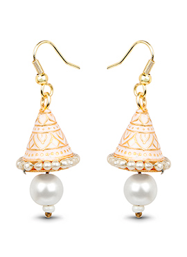 Gold N White Beads Dangler Earrings