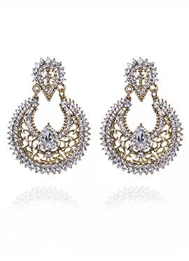 Gold N white Chaand Bali Earring