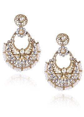 Gold N White Chaand Bali Earrings