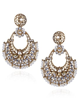 Gold N White Chaand Bali Earrings