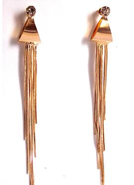 Gold N White Chandelier Earrings