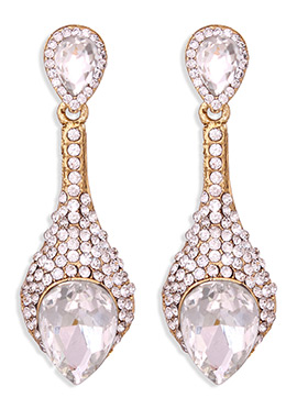 Gold N White Colored Stone Studded Danglers