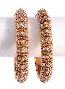 Gold N White Colored Stones Studded Bangles