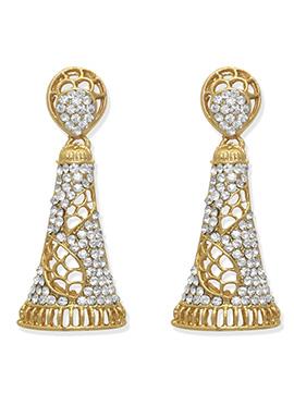 Gold N White Dangler Earring