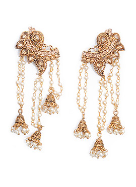 Gold N White Dangler Earrings