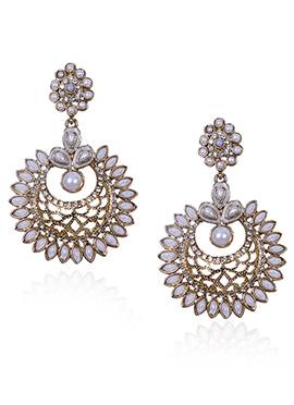 Gold N White Dangler Earrings
