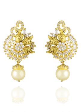Gold N White Drops Earring