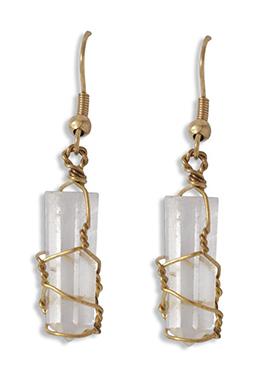 Gold N White Hook Earring